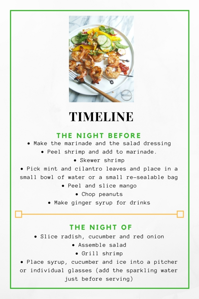 Timeline for the Spicy Sambal Shrimp and Mango Salad and Ginger Cucumber Spritzers