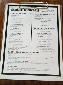 First Page of the Menu