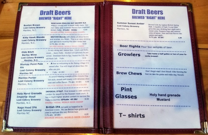 Lost Colony Brewery Menu